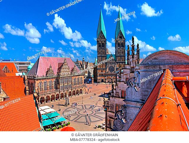 Marketplace with Town Hall and St. Petri Cathedral, Bremen, State of Bremen, Northern Germany, Germany