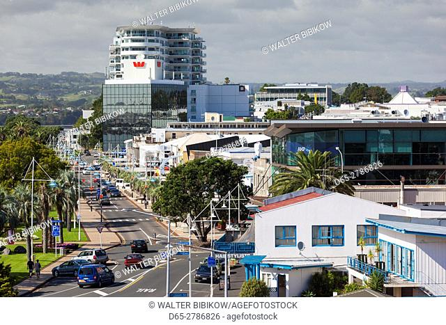 New Zealand, North Island, Tauranga, elevated town view, morning