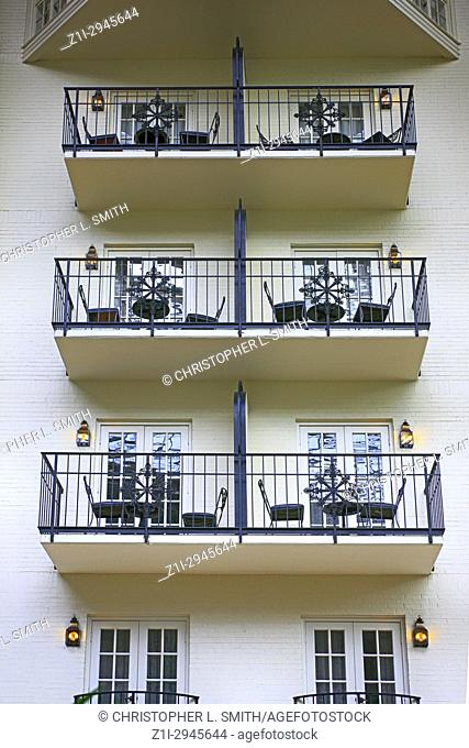 Room balconies in the Gaylord Opryland hotel resort in Nashville TN, USA