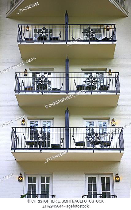 Room balconies in the Gaylord Opryland hotel resort in Nashville TN, USA