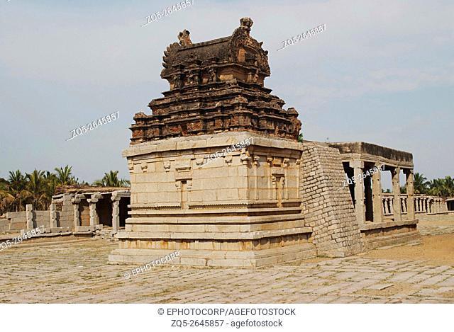 Amman shrine, Pattabhirama Temple, Hampi, Karnataka, India. View from west