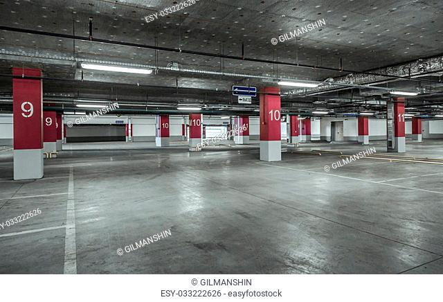 Empty parking lot wall. Urban industrial background