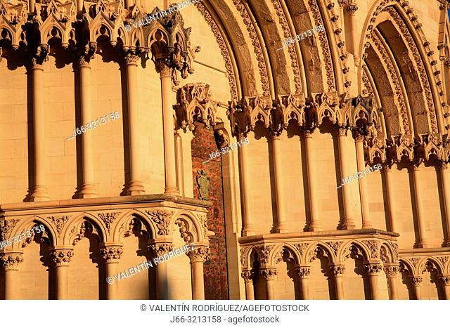Cathedral in the Plaza Mayor. Detail of the facade. Cuenca. Spain