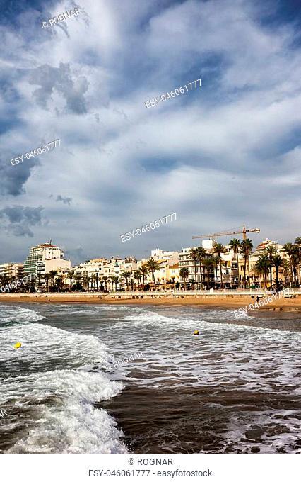 Sitges, coastal resort town on Mediterranean Sea in Catalonia, Spain