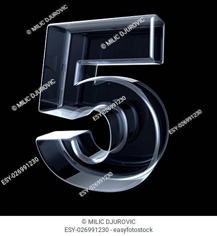 Transparent x-ray number 5 FIVE. 3D render illustration on black background