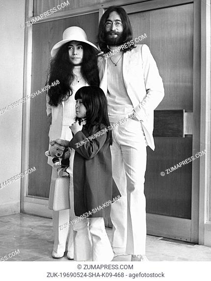 May 24, 1969 - London, England, U.K. - Beatles lead singer JOHN LENNON, his wife YOKO ONO and her 5 year old daughter by her previous marriage