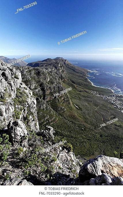 Table Mountain top view down to the tvelve Apostels near Camps Bay, Cape Town, South Africa