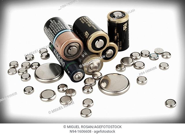 Still life of alkaline batteries and lithium used
