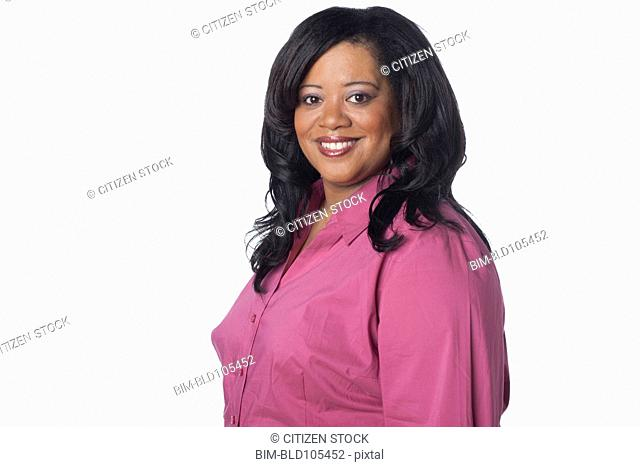 Smiling overweight woman