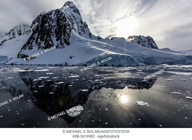 Ice floes choke the waters of the Lemaire Channel, Antarctica