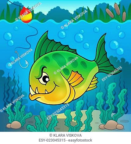 Piranha fish underwater theme 1