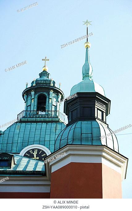 Sweden, Stockholm, spires of Sankt Jakobs kyrka Saint James's church