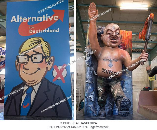 26 February 2019, Rhineland-Palatinate, Mainz: KOMBO - The picture combo shows a motive wagon about AfD, which is introduced at the presentation of the motive...