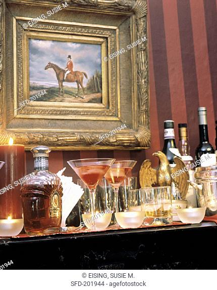 Assorted Cocktails and Liquor on a Table