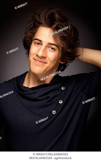 Teenager boy young man portrait smiling friendly