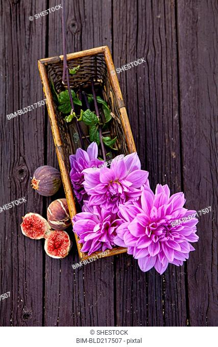 Close up of fresh figs and dahlia flowers
