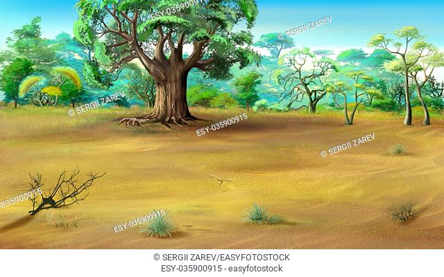 Digital painting of the African Savannah in a summer day with big baobab on background