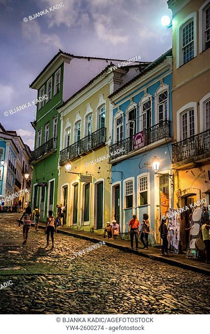 Historical Pelourinho at dusk, Salvador, Bahia, Brazil
