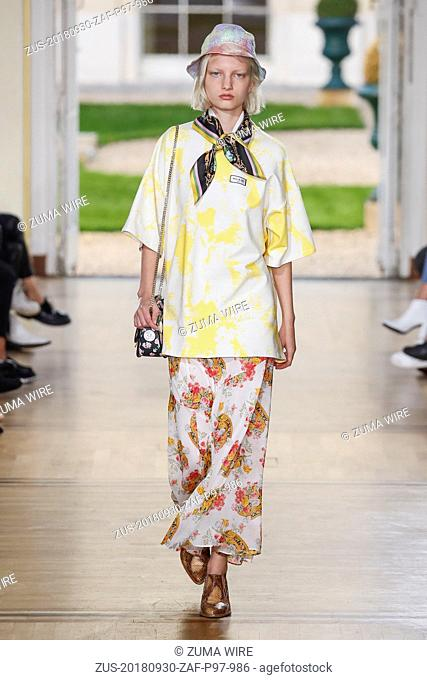 September 30, 2018 - Paris, France - Paul and Joe. - Model On Catwalk, Woman Women, Paris Fashion Week 2019 Ready To Wear For Spring Summer, Defile