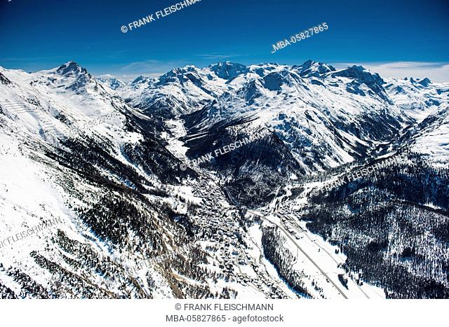 PontHarza with Berninagruppe and Val Roseg, aerial picture, Canton of Grisons, the Engadine, Switzerland