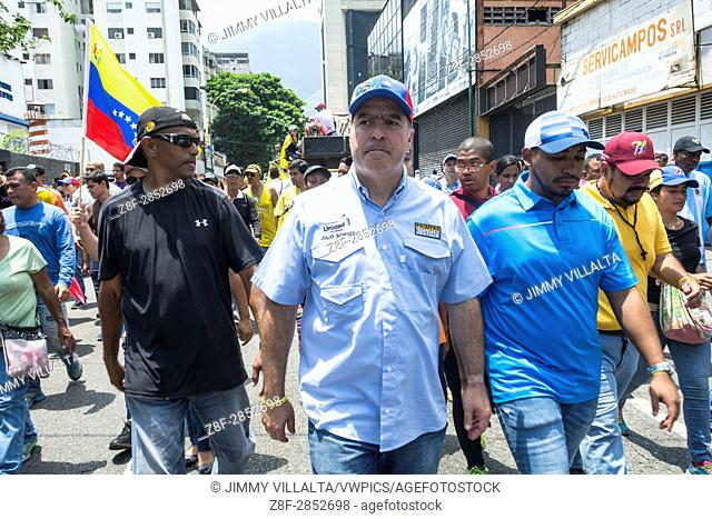 Julio Borges, President of the National Assembly walks in a concentration in the streets of Caracas, against the government of Nicolas Maduro