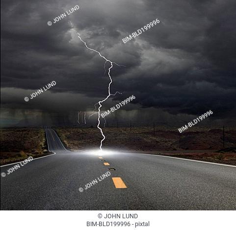 Lightning hitting remote road