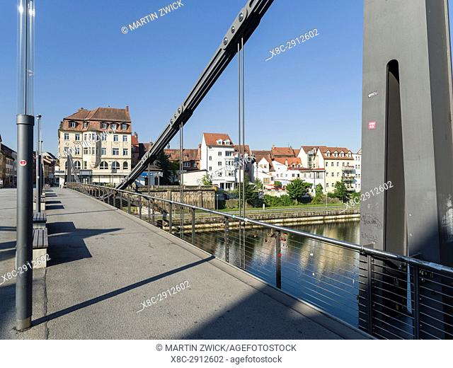 The Kettenbruecke (chain bridge) spanning the Main Donau Channel or the right arm of river Regnitz. Bamberg in Franconia, a part of Bavaria