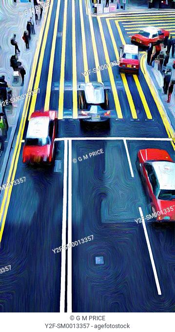 elevated and filtered view of people and cars at pedestrian crossing in Central Hong Kong
