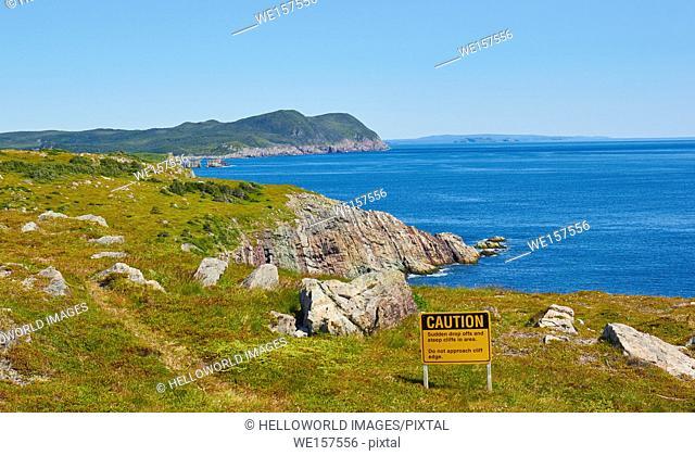 Steep cliffs warning sign, Newfoundland, Canada