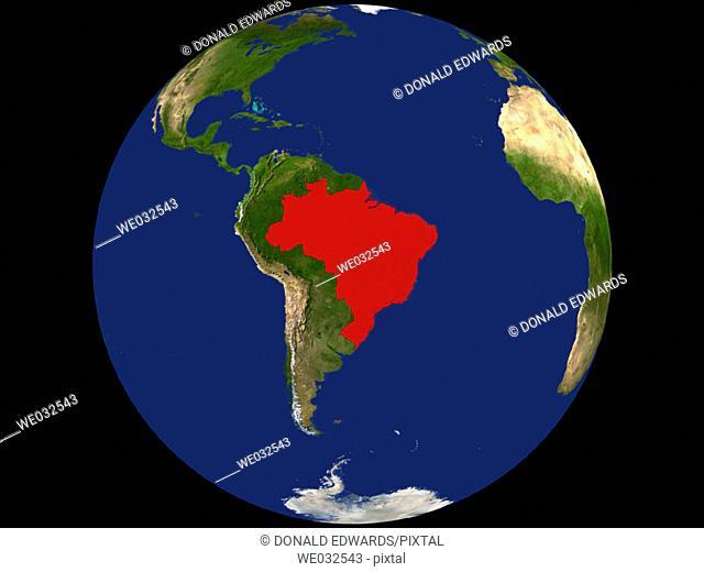 Highlighted Satellite Image Of Brazil