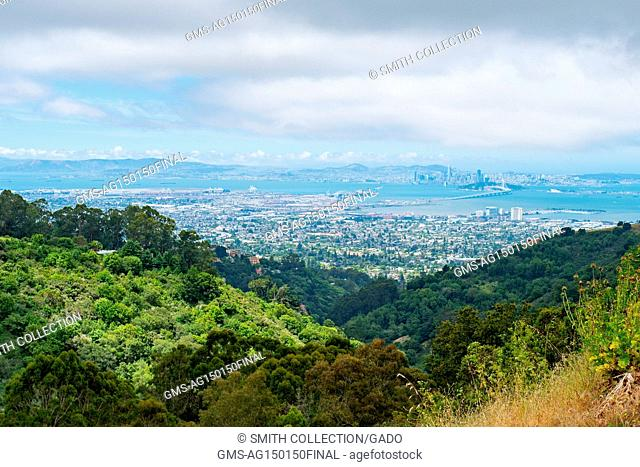 Aerial view of Oakland, Emeryville, the Oakland Bay Bridge, the San Francisco Bay, and the city of San Francisco, from the Berkeley Hills in Berkeley