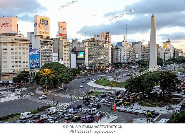 Buenos Aires, 9 De Julio Avenue, obelisk, Argentina, Latin America