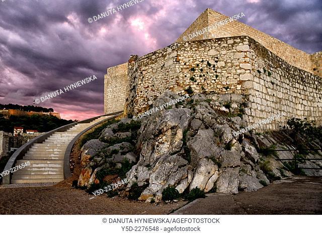 Saint Michael's Fortress at dusk, Tvrdava Sv. Mihovila, old town of Sibenik, Dalmatia, Croatia, Europe