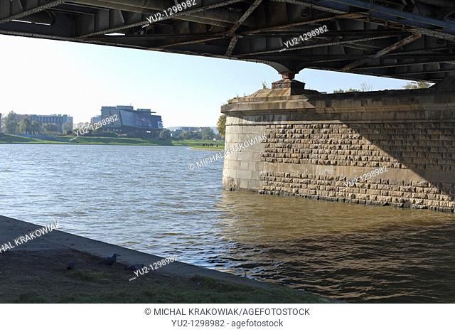 Under Pilsudski Bridge in Krakow, Poland