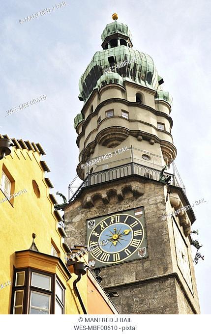 Austria, Tyrol, Innsbruck, steeple with clock