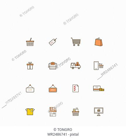 Set of various icons related to shopping