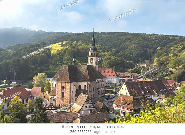 village Andlau from above, Alsace Wine Route, France, ancient monastery at the foothills of the Vosges mountains