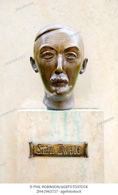 Paris, France. Jardin du Luxembourg (6th Arr) bronze bust of Stefan Zweig (1881-1942) Austrian author and playwright
