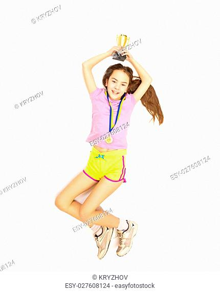 Isolated photo from high point view of happy girl jumping high after taking first place in competition