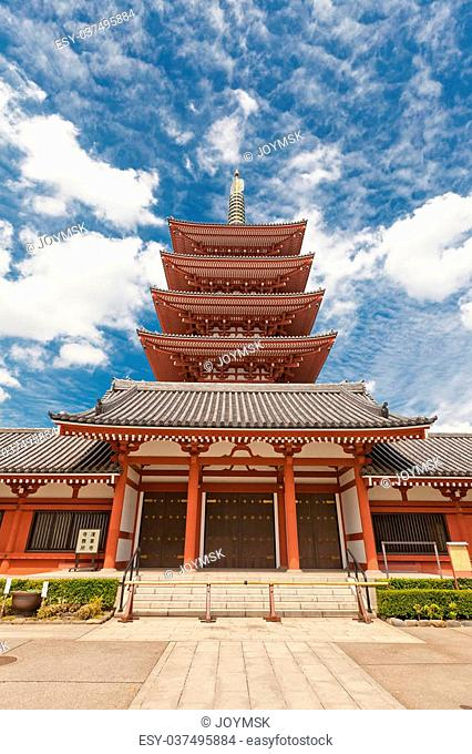 Five-story pagoda of Senso-ji Temple in Tokyo, Japan. The oldest temple in Tokyo, was founded in 645
