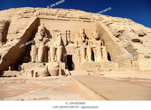 Egypt, Aswan, Abu Simbel Temples. A view of the Great Temple at Abu Simbel