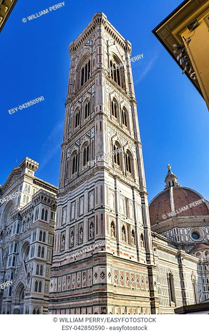 Campanile Bell Tower Duomo Cathedral Church Florence Italy. Finished 1400s. Formal name Cathedral di Santa Maria del Fiore