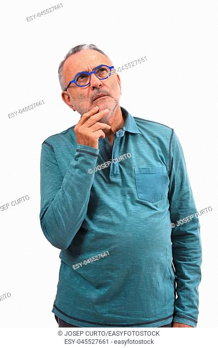 man having a doubt or question on white background