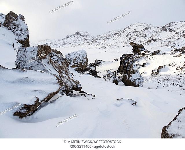 Landscape at lake Kleifarvatn on Reykjanes peninsula during winter Northern Europe, Scandinavia, Iceland, February