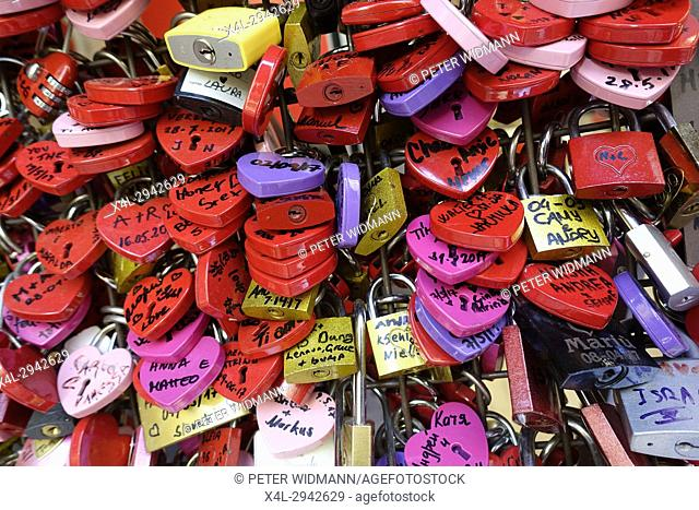 Many colourful love padlocks at the wall of Juliet's house, Verona, Veneto, Italy, Europe