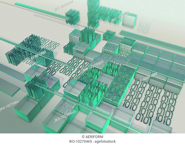 Blocks of green binary code data forming uneven surface
