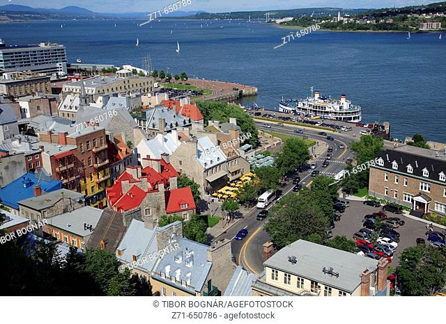 Canada, Quebec, Québec City, lower town, St Lawrence River