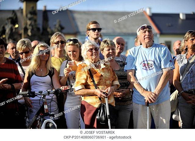 b95e4becd ... Czech Cycling Tour 2015 in 1st stage. CKP-P201508130872001. Image  RM.  People in Moravska Trebova welcomed their compatriot cyclist Leopold Konig  who ...