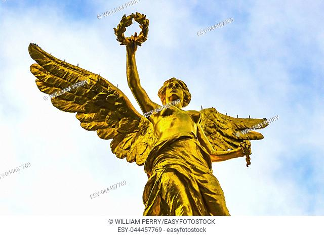 Golden Angel Independence Monument Under Sun Mexico City Mexico. Built in 1910 celebrating war in early 1800s leading to Independence 1821
