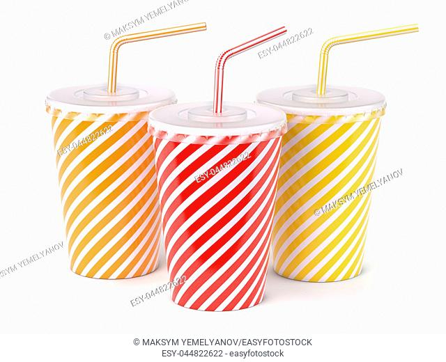 Red striped paper or plastic glass with soda water, drinking straw, tea or coffee. 3d illustration